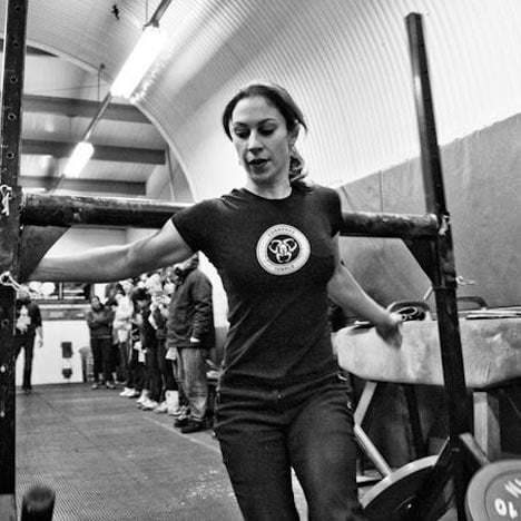 Strong woman gym training
